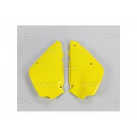 Plaques latérales UFO jaune Suzuki RM80/85