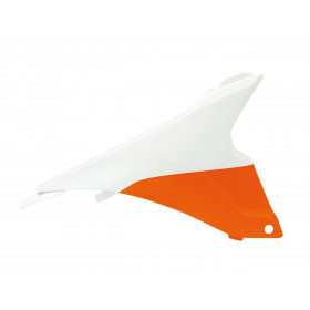 Cache boite à air gauche RACETECH orange/blanc KTM SX85