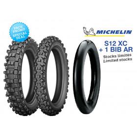 Pack de 2 pneus MICHELIN S12 XC + 1 BIB arrière (90/90-21 - 140/80-18)