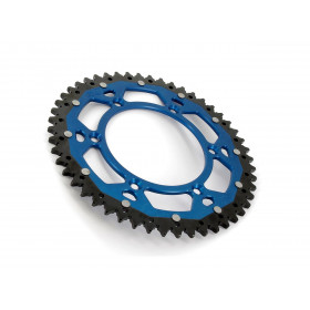 Couronne ART Bi-composant 49 dents Aluminium ultra-light anti-boue pas 520  bleu