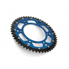 Couronne ART Bi-composant 50 dents Aluminium ultra-light anti-boue pas 520  bleu