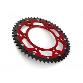 Couronne ART Bi-composant 49 dents Aluminium ultra-light anti-boue pas 520  rouge