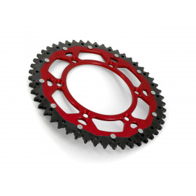 Couronne ART Bi-composant 48 dents Aluminium ultra-light anti-boue pas 520  rouge