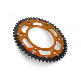 Couronne ART Bi-composant 48 dents Aluminium ultra-light anti-boue pas 520  orange