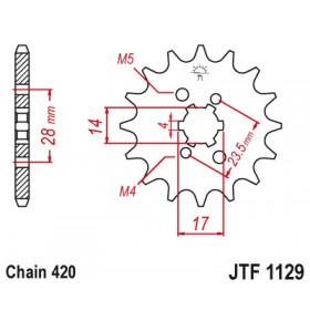 Pignon JT SPROCKETS 12 dents acier pas 420 type 1129