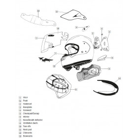 Kit ventilation latéral  ARAI casque intégral Frost White
