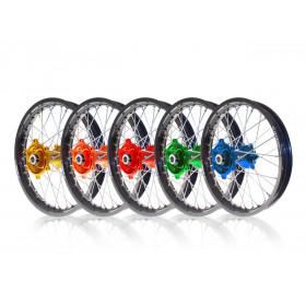 Kit roues complètes avant + arrière ART MX 21x1,60/19x1,85 jante noir/moyeu bleu Yamaha