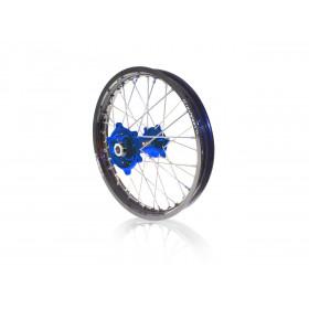 Kit roues complètes avant + arrière ART MX 21x1,60/19x2,15 jante noir/moyeu bleu Suzuki