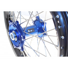 Kit roues complètes avant + arrière ART MX 21x1,60/19x2,15 jante noir/moyeu bleu Husqvarna