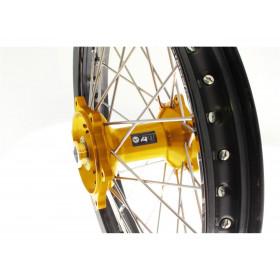 Kit roues complètes avant + arrière ART MX 21x1,60/19x2,15 jante noir/moyeu or Suzuki