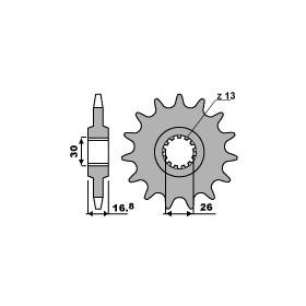 Pignon PBR 16 dents acier anti-bruit pas 530 type 347