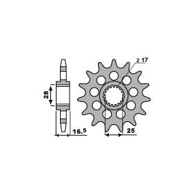 Pignon PBR 17 dents acier anti-bruit pas 525 type 2147