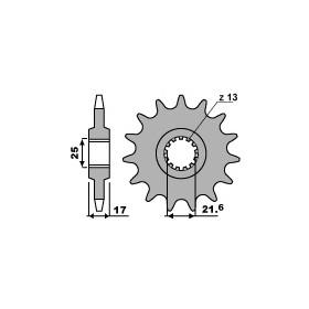 Pignon PBR 16 dents acier anti-bruit pas 520 type 2042