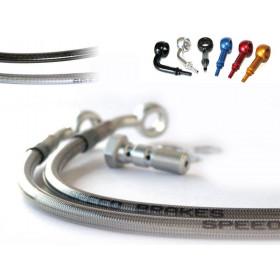 Durite de frein avant SPEEDBRAKES inox/raccord or Suzuki GSX-R1000