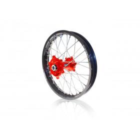 Kit roues complètes avant + arrière ART MX 21x1,60/19x2,15 jante noir/moyeu rouge Honda