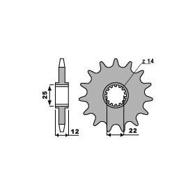 Pignon PBR 13 dents acier anti bruit pas 520 type