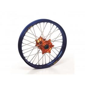 Roue avant complète HAAN WHEELS 17X3.50X36T jante bleu/moyeu orange KTM/Husqvarna