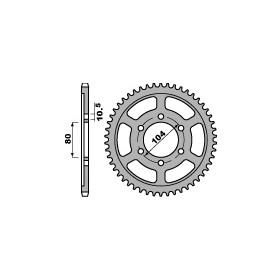 Couronne acier PBR 43 dents chaîne 525 Kawasaki ZX7-R (ZX750P1 P7)