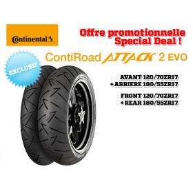 Train de pneus Sport-Touring CONTINENTAL ContiRoadAttack 2 EVO (120/70 ZR 17 + 180/55 ZR 17)