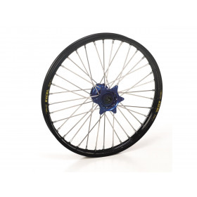 Roue avant complète HAAN WHEELS 17x3.50x36T jante noir/moyeu bleu KTM/Husqvarna