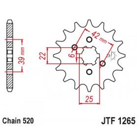 Pignon JT SPROCKETS 12 dents acier pas 520 type 1265