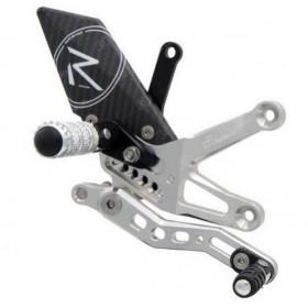 Commande reculées réglables/repliables LIGHTECH Racing sélection standard argent Aprilia Tuono V4