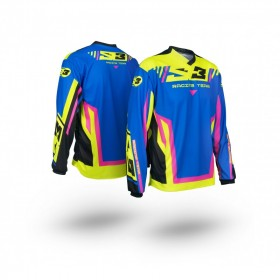 Maillot S3 Racing Team enfant rose/bleu taille YS