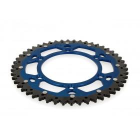 Couronne ART Bi-composants 51 dents aluminium/acier ultra-light anti-boue pas 520 type TM bleu