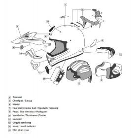 Plaque visière ARAI TX3/4 Frost Tint casque off road