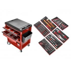 Servante mobile d'atelier à six modules FACOM rouge 101 outils