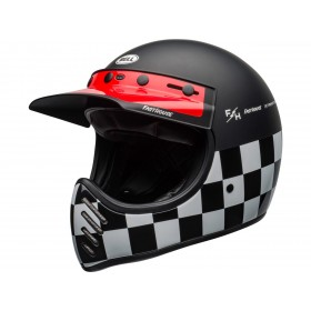 Casque BELL Moto-3 Fasthouse Checkers Matte/Gloss Black/White/Red taille M