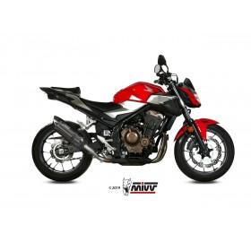 Silencieux MIVV Suono Steel Black/casquette carbone Honda CB500F