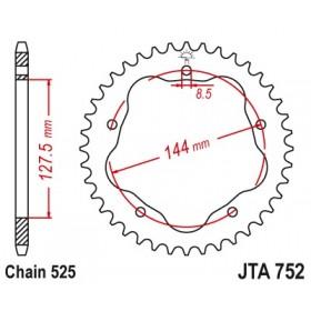 Couronne JT SPROCKETS 43 dents alu ultra-light pas 525 type 752
