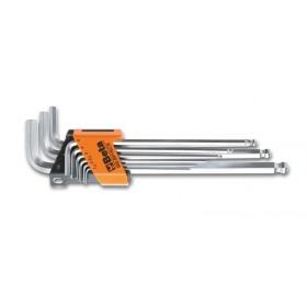 Jeu de 9 clés mâles 6 pans coudées à tête sphérique BETA modèle extra long