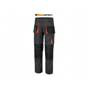 Pantalon de travail multipoches BETA en T/C canvas 260 g/m² empiècements en Oxford gris taille L