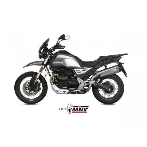 Silencieux MIVV Speed Edge inox noir/casquette carbone Moto Guzzi V85TT