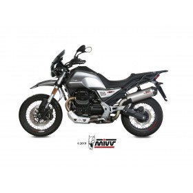 Silencieux MIVV Oval titane/casquette carbone Moto Guzzi V85TT