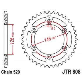 Couronne JT SPROCKETS 47 dents acier standard pas 520 type 808