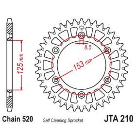 Couronne JT SPROCKETS Aluminium Ultra-light anti-boue 210-520