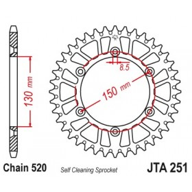 Couronne JT SPROCKETS Aluminium Ultra-light anti-boue 251-520