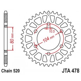 Couronne JT SPROCKETS Aluminium Ultra-light anti-boue 478-520