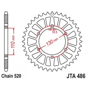 Couronne JT SPROCKETS Aluminium Ultra-light anti-boue 486-520