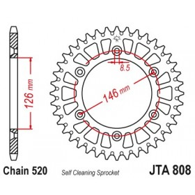 Couronne JT SPROCKETS Aluminium Ultra-light anti-boue 808-520