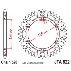Couronne JT SPROCKETS Aluminium Ultra-light anti-boue 822-520