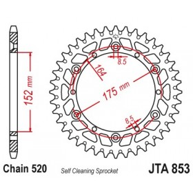 Couronne JT SPROCKETS Aluminium Ultra-light anti-boue 853-520