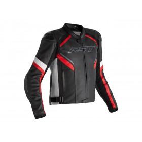 Veste RST Sabre cuir noir/blanc/rouge homme