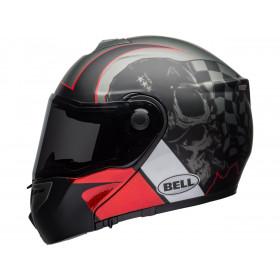 Casque BELL SRT Modular Hart-Luck Gloss Matte Charcoal/White/Red Skull taille XXL