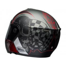 Casque BELL SRT Modular Hart-Luck Gloss Matte Charcoal/White/Red Skull taille L