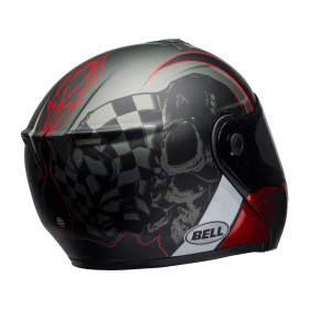 Casque BELL SRT Modular Hart-Luck Gloss Matte Charcoal/White/Red Skull taille XS