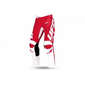 Pantalon motocross enfant UFO Kimura blanc/rouge taille 38